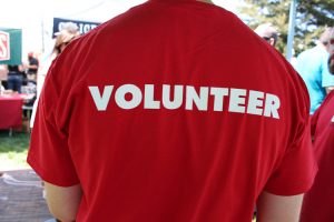 Red volunteer t-shirt
